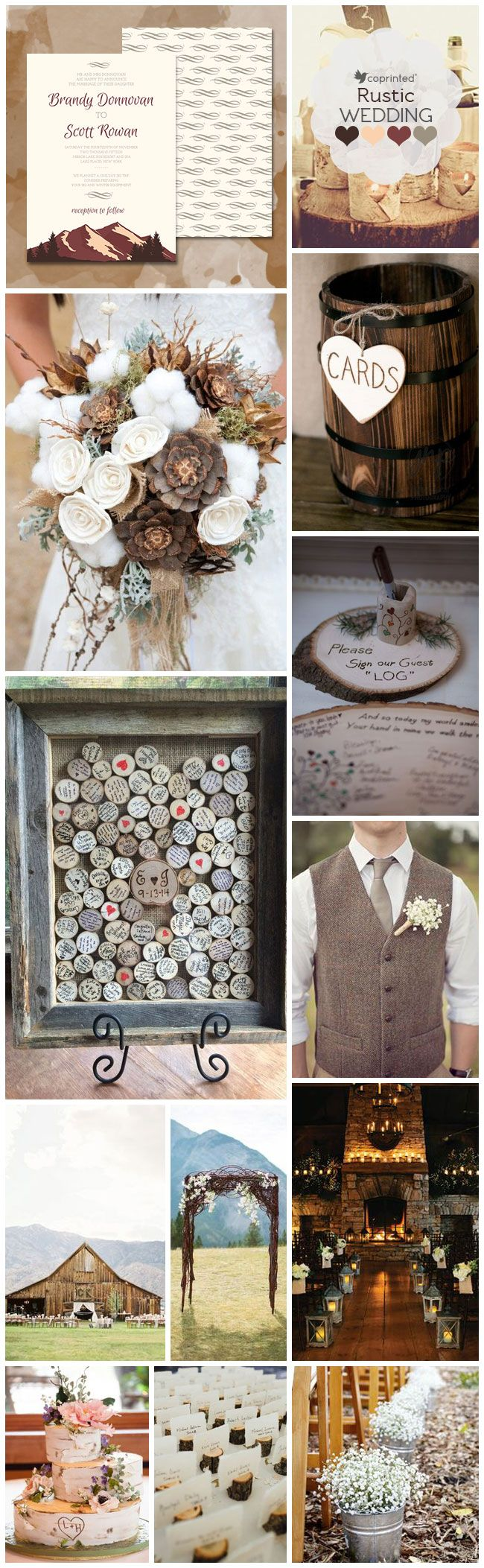 Mountain wedding invitations inspiration board with a rustic theme
