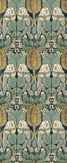 """Whoot"" is a seductively mystical and playful pattern of owls and owlets with foliage and nest. Classically colored with Voysey's mastery of the blue-green palette, this design will ennoble any room or wizard's lair -Wallpaper"