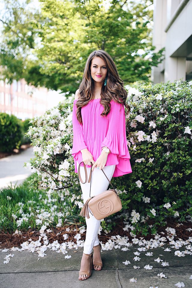 hot pink blouse (comes in 5 colors, order a size down!) // white pants // Baublebar earrings c/o Gucci Soho Disco hand...