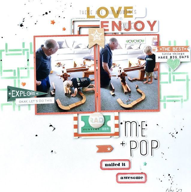 Layout for Nov Scrap the Boys using Pinkfresh; Escape the Ordinary, Crate Paper; Cool Kid and Cocoa Vanilla boy ranges