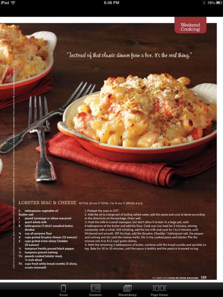 Lobster Mac & Cheese from October '12 Food Network Magazine