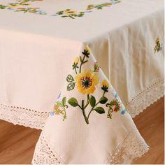S & v sıcak! Pastoral masa örtüsü avrupa pamuk keten masa örtüsü el işlemeli bez masa güzel papatya çiçek masa koşucu(China (Mainland))