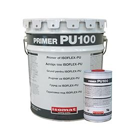 PRIMER-PU 100: One-component, polyurethane primer with solvents. It ensures the proper adhesion of the brushable, polyurethane liquid membrane ISOFLEX-PU on porous substrates such as concrete, cement-mortars, wood etc.