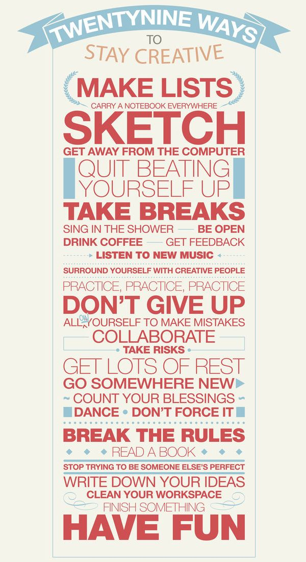 29 Ways to Stay Creative Poster