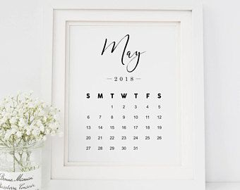 May Calendar 2018 Print — Pregnancy Announcement Printable Wall Art Newborn Print Black And White Monthly Calendar May INSTANT DOWNLOAD