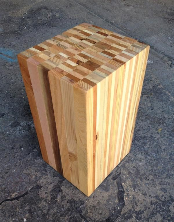 Recycled Pallet Wood / Stool / End Table   Pallet Furniture DIY