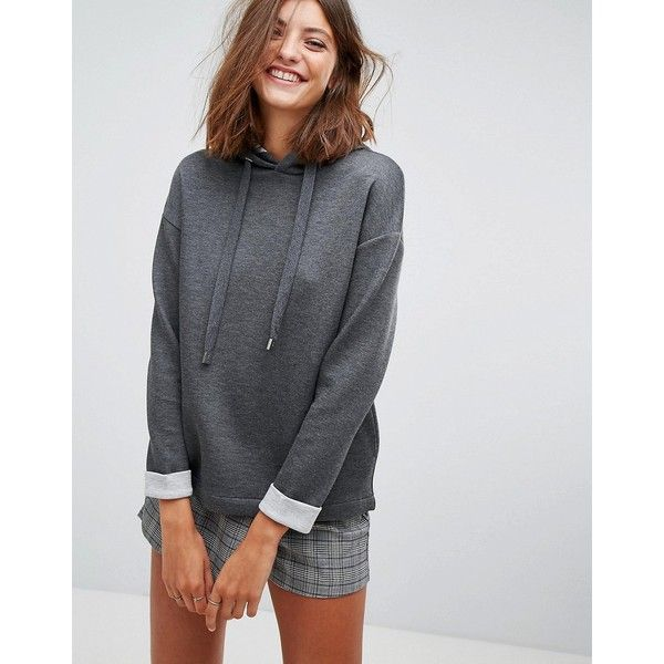 Stradivarius Hoodie (37 CAD) ❤ liked on Polyvore featuring tops, hoodies, grey, jersey hoodie, marled grey hoodie, logo hoodies, grey hoodies and tall hoodies
