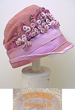 Vintage 1920s Cellophane Cloche Hat in Pinks and Salmon SZ XS
