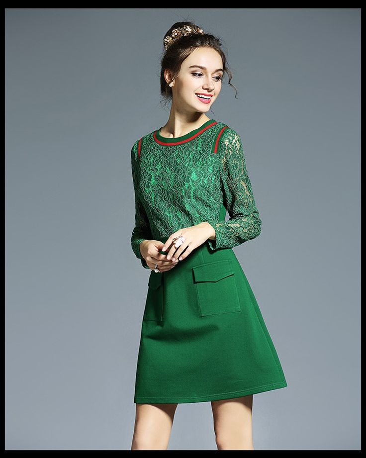Nice L- 5XL Plus size Patchwork Lace Dress High Quality 2016 Women Elegant Autumn Long Sleeve Runway Office Work Green Dresses