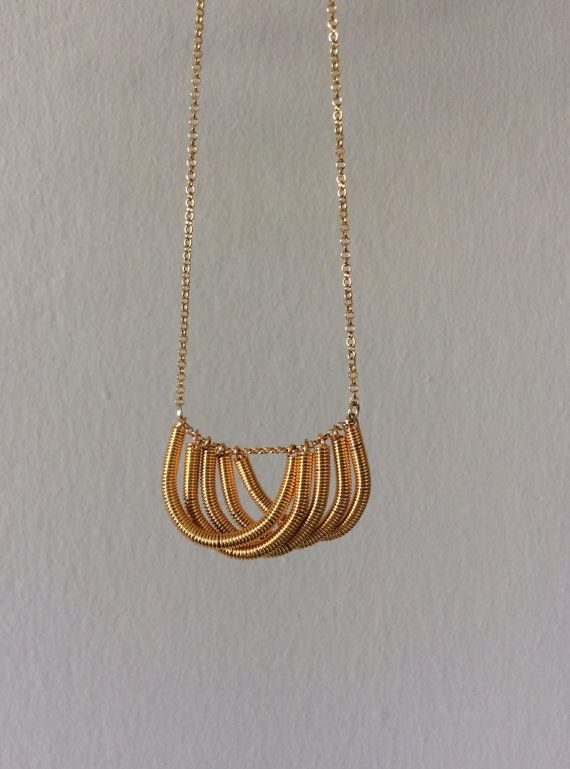 Shell gold necklace hand twisted coil 925 silver by EliaLaNoire