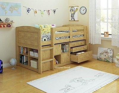 Childrens Mid Sleeper Bed With Storage - Ladder Fits Either End - Oak Or White