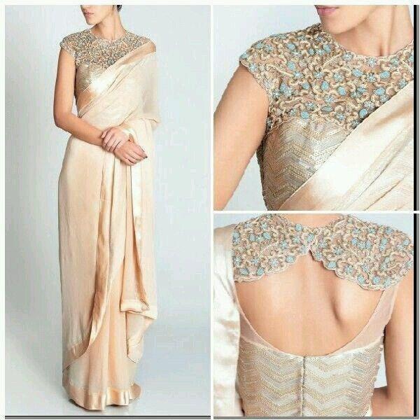 Georgette & Lyrca Lace Work Plain Cream Designer Saree - 3011