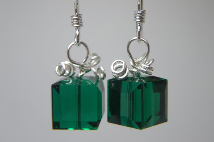 TODAY IS A GIFT Christmas Jewelry - Holiday Earrings - Green Swarovski Crystal Earrings - Christmas Present - Xmas Jewelry - Sterling Silver. $12.00, via Etsy.