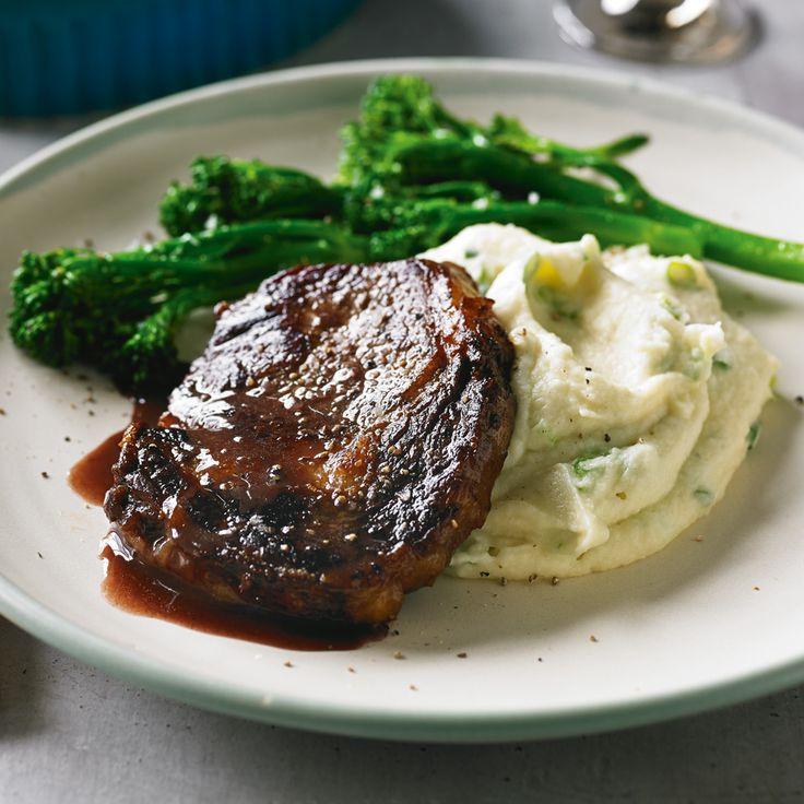 Scotch fillet steaks with cauliflower champ  black pepper sauce