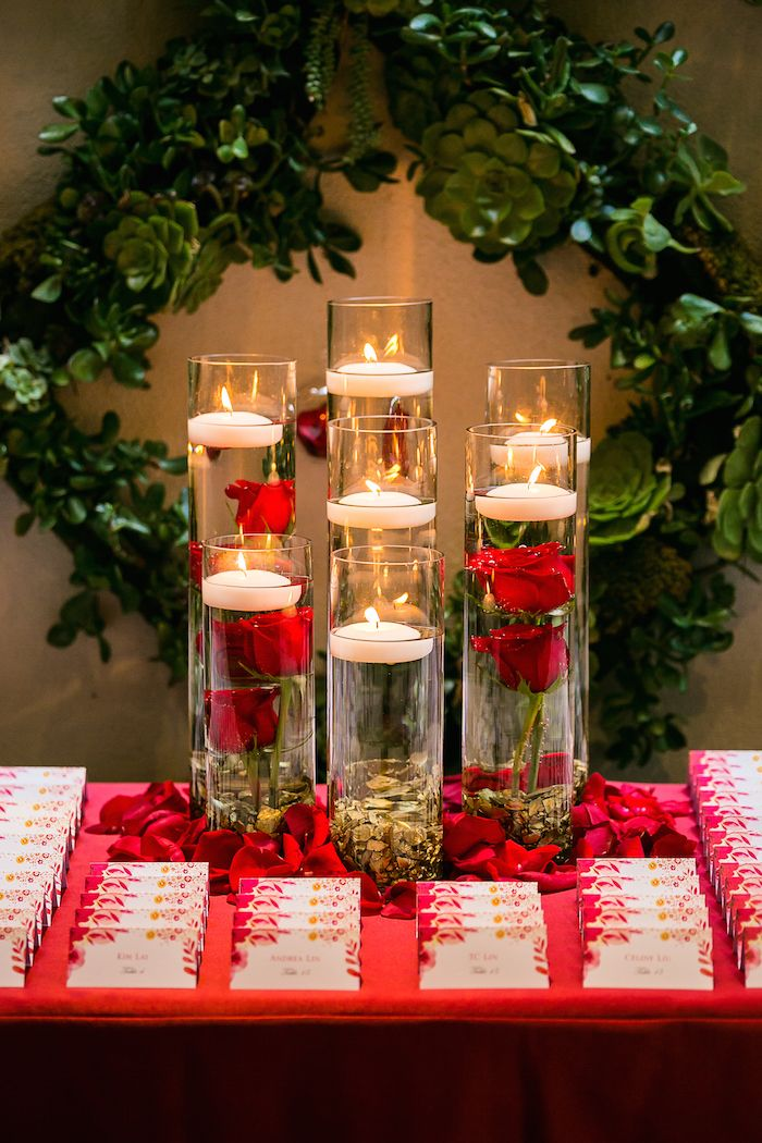 Romantic Wedding Filled With Red Roses And Gold Details Wedding Centerpieces Gold Wedding