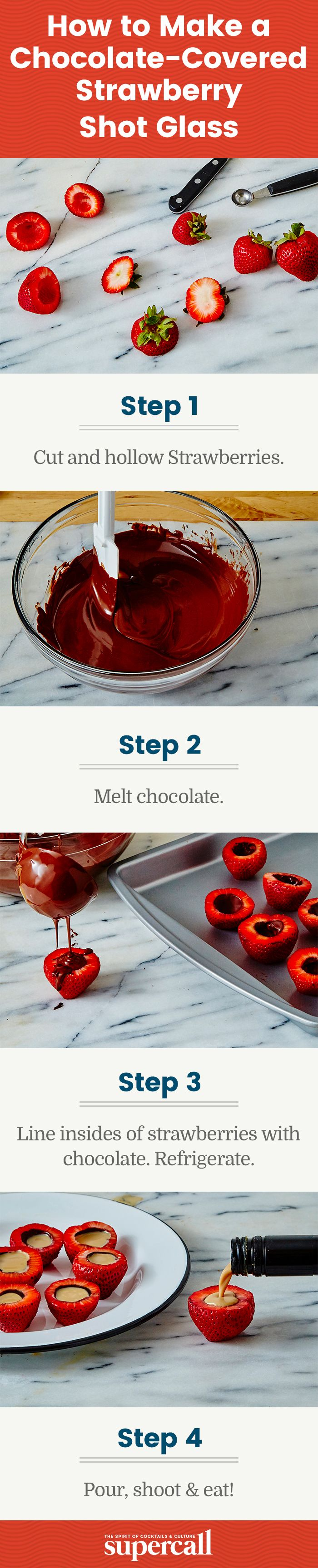 These chocolate-lined strawberry shot glasses are easy to make and downright delicious, especially when filled with a spirit that complements the cocoa-berry flavors (think bittersweet amari or creamy liqueurs). Plus, they provide you with that healthy serving of fruit your doctor is always going on about.