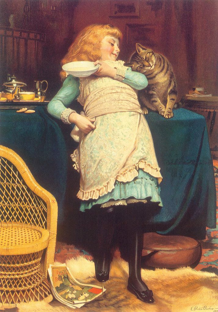"""Charles Burton Barber (1845 – 1894), """"Coaxing is Better than Teasing"""""""