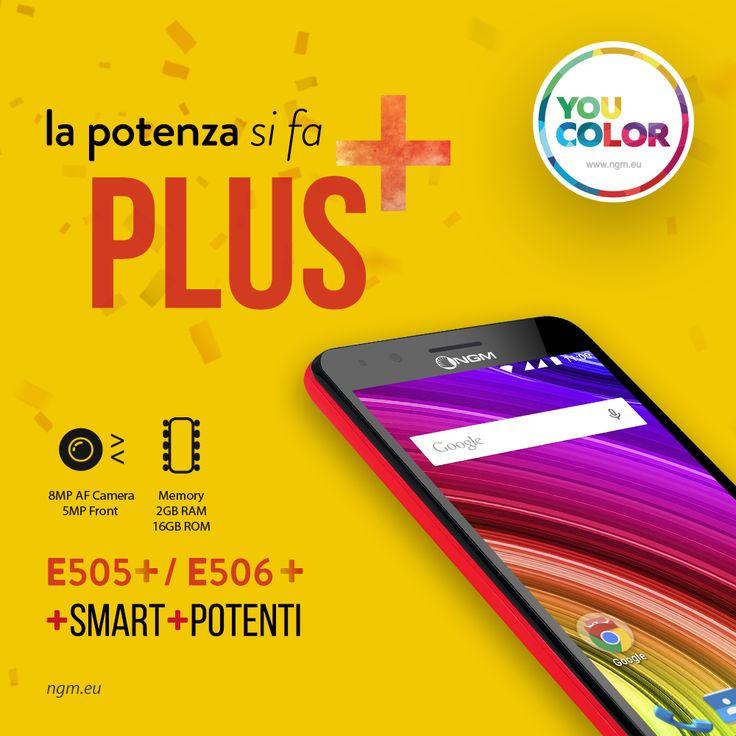 Novità in casa #NGM: sono arrivati i nuovi modelli della linea #YouColor: E505 PLUS ed E506 PLUS. Smart, coloratissimi e ancora più potenti! Due #smartphone con una forza da veri campioni grazie al potenziamento della fotocamera, della memoria interna e della RAM!  #ColorYourSmartphone   #21inUNO   www.ngm.eu