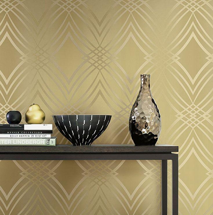 Geometric Glitter Wallpaper in Metallic design by Seabrook Wallcoverings