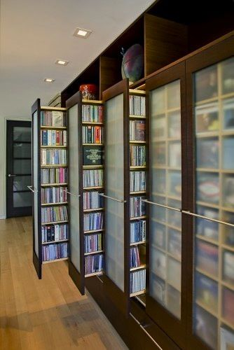 sliding shelf storage for media