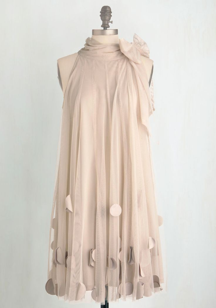 All Neutral Dress by Ryu - Mid-length, Cream, Shift, Sleeveless, Solid, Bows, Pastel, 20s, Special Occasion, Prom, Vintage Inspired, Cocktail, Party, As You Wish Sale, Chiffon, Woven, Better, Top Rated, Bride