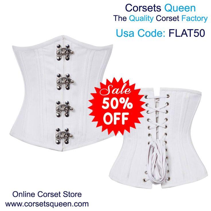 White Corset, white underbust corset, white waist training corset, white clothing, white cloth, white fashion corset, white underbust corset