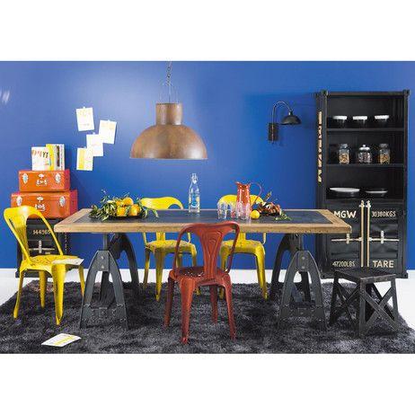Table de salle manger en bois aspect m tal effet vieilli for Table et chaise de salle a manger maison du monde