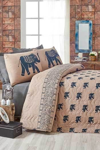 Elefánt-Kék kétszemélyes steppelt ágytakaró szett