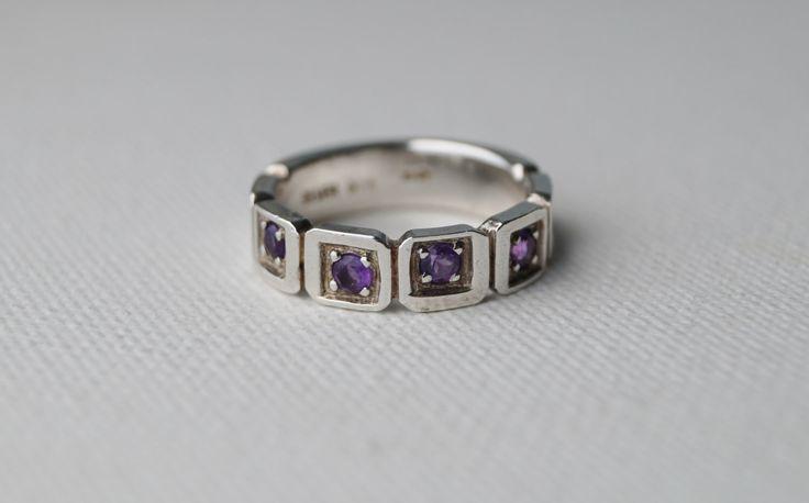 Vintage Sterling Silver Amethyst Ring - Wedding Band - Half Eternity Ring - Vintage Amethyst Ring - Vintage Ring - 5 1/2 K - Mint & Vintage by MintNVintage on Etsy https://www.etsy.com/listing/263131131/vintage-sterling-silver-amethyst-ring