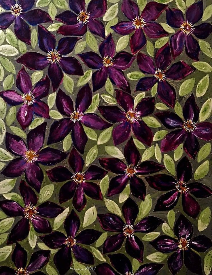 Purple Clematis  Acrylic on Board  2017