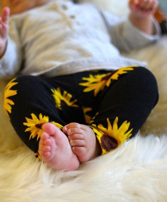 Baby Girl Toddler Girl Sunflower Print Leggings: by MEandREEKIE