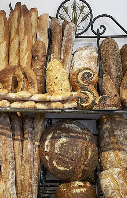 Freshly baked bread in all shapes and sizes.
