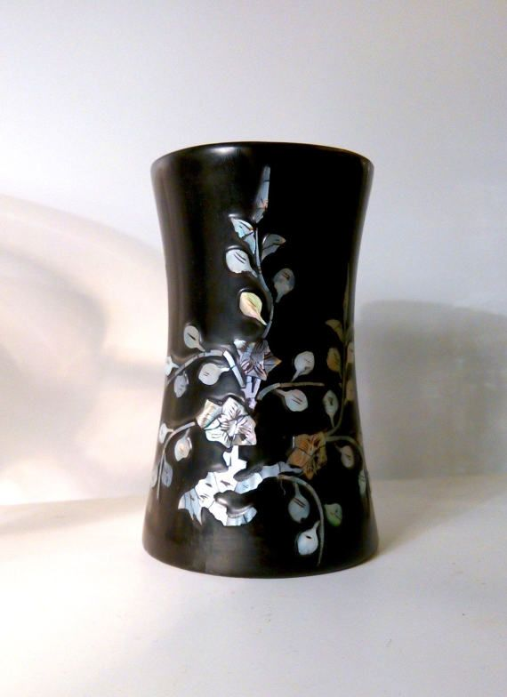 1930s Lacquer & Mother of Pearl Inlay Vase Storage by Stall69UK