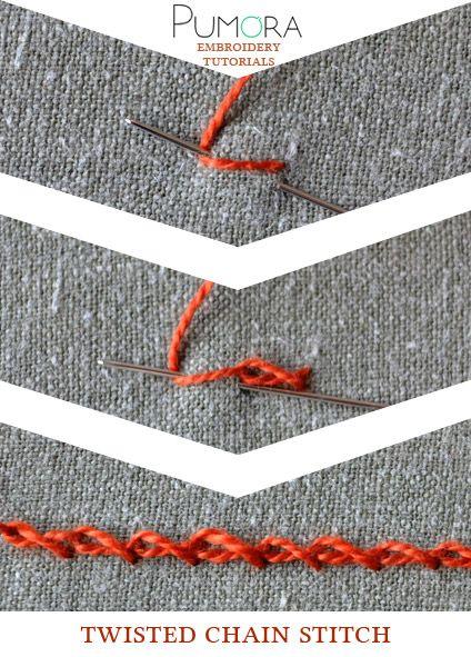 Pumora's embroidery stitch lexicon: twisted chain stitch tutorial