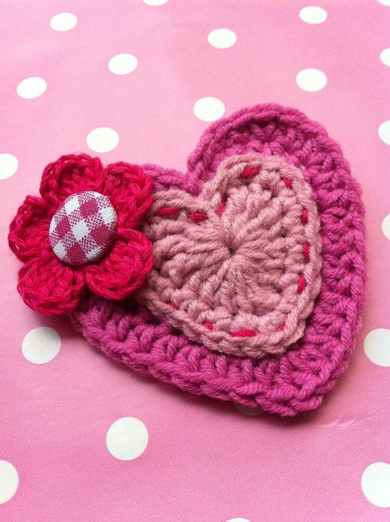 Heart Brooch / Pretty in Pink Crocheted Heart Brooch.