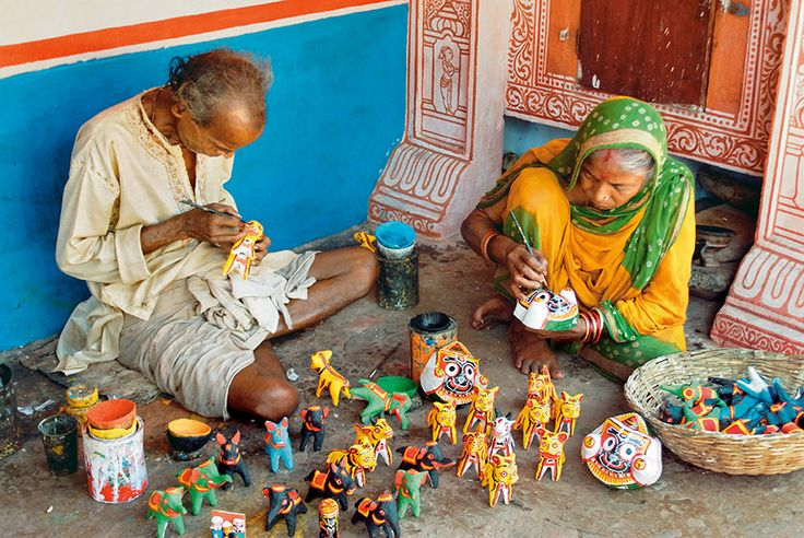 At the crafts village of Raghurajpur, a few minutes outside Puri, artist families produce pattachitra scroll paintings, palm-leaf engravings, shadow puppets, and other traditional crafts. http://www.natgeotraveller.in/magazine/month/april-2014/juggernautjourney-164/