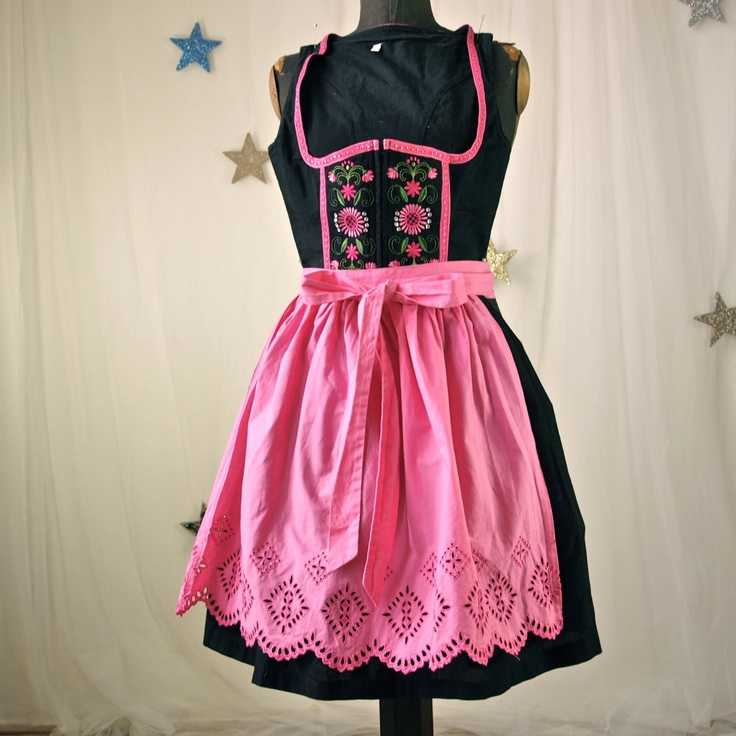 Vintage Black and Pink Cotton Embroidered German Dirndl Dress  size 32 EU X-Small 1960's Sound of Music. $95.00, via Etsy.