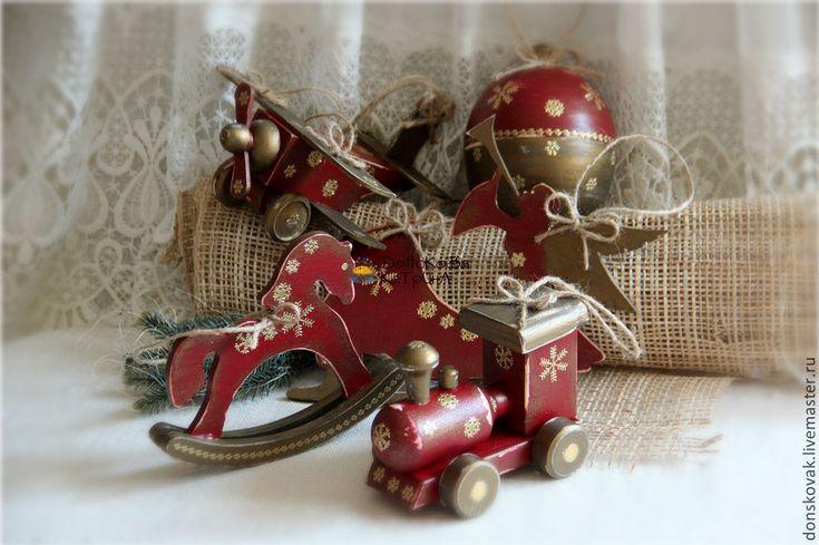 Купить Набор чердачных деревянных игрушек - бордовый, чердачная игрушка, чердачные игрушки, деревянные игрушки