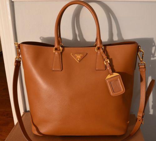 NEW Prada Lux BN2398 Caramel Brown Saffiano Leather Satchel ...