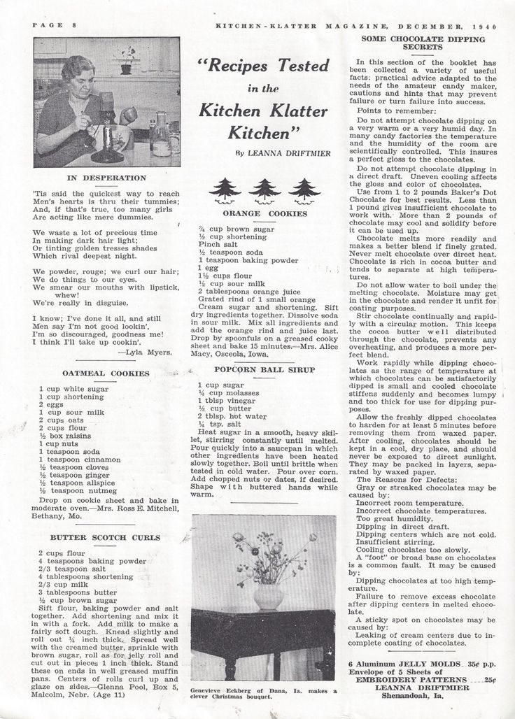 Kitchen Klatter Magazine, December 1940 - Oatmeal Cookies, Butter Scotch Curls, Orange Cookies, Popcorn Ball Syrup, Chocolate Dipping Secrets