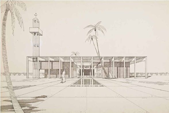 "Hollywood Mosque, Pierre Koenig, 1963. From ""Never-Built LA""; a century of unbuilt plans and buildings in Los Angeles, California."