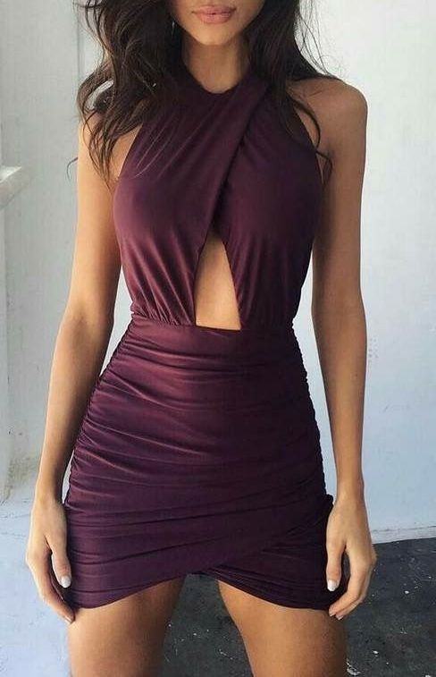 #summer #outfits / burgundy dress