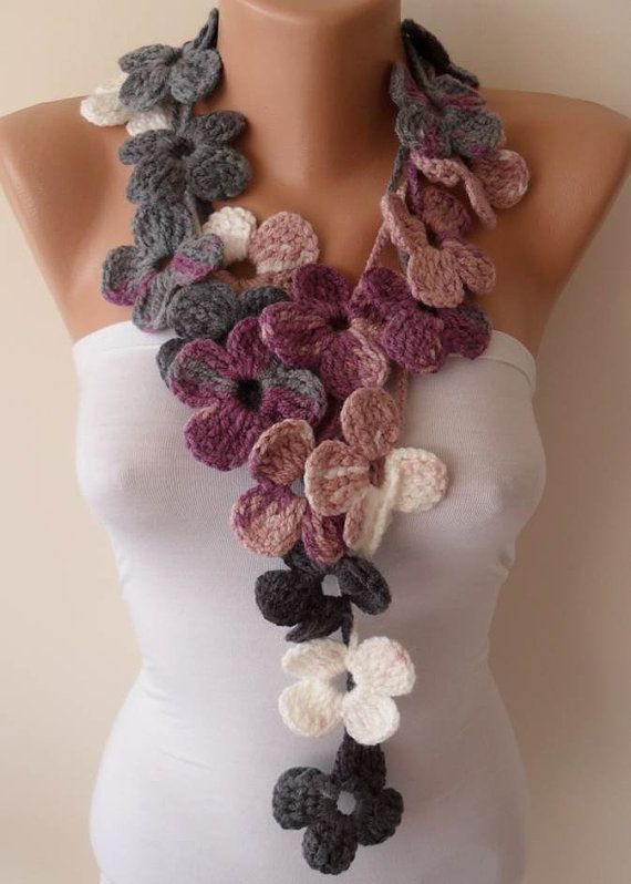 Crochet  Handknit flowered scarf  Lilac  Gray and by SwedishShop