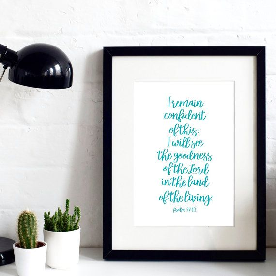 Psalm 27 - Hand-Drawn Original A4 Print - Hand-lettered - Christian Print - Christian Gifts - Gift for Friend - New Venture Gift
