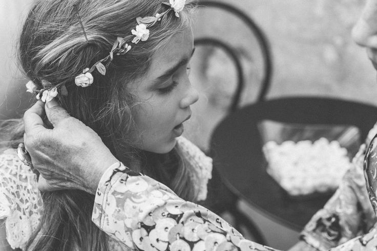 Bohemian Flower Girl. Wedding in Crete, in Vafes. Photography by paulinaweddings.com