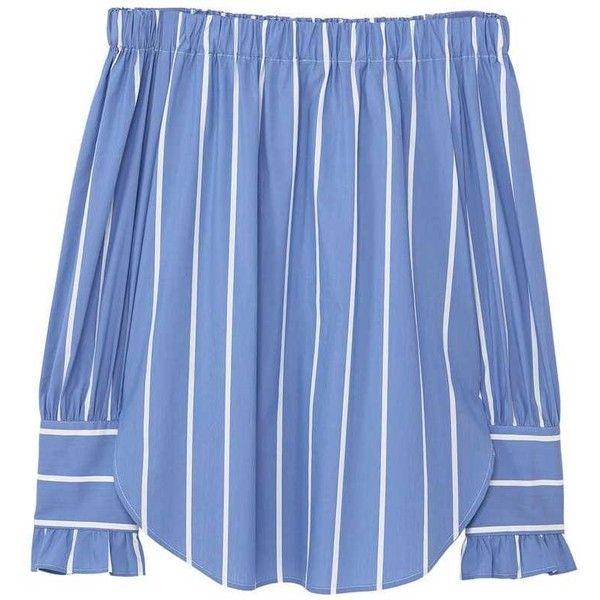 Striped Off-Shoulder Blouse (68 BRL) ❤ liked on Polyvore featuring tops, blouses, shirts, off shoulder ruffle blouse, off shoulder tops, flutter sleeve top, off the shoulder ruffle blouse and blue ruffle blouse