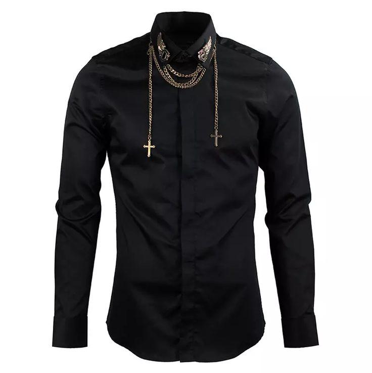 Men Shirt Collar Metal Wings Design Long Sleeve Shirts Men with Cross Chain Slim Fit Mens Dress Shirts Casual Black White