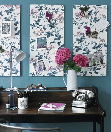 Pin It: Smart organizers come in many shapes, sizes, colors, and patterns, too. Cover bulletin boards with fabric to create attractive artwork that doubles as a spot for holding reminders, notes, and more.