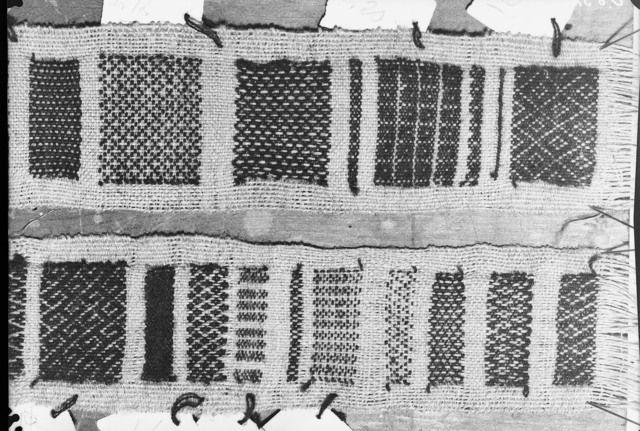 Oseberg textile   No. 2 sample of weaves found. Kulturhistorisk museum, Oslo.