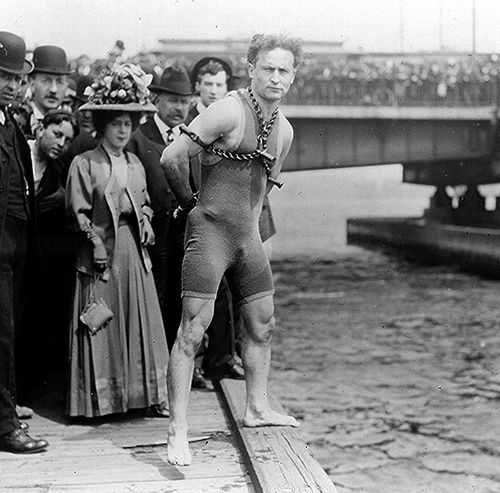 Houdini before his near fatal jump & escape from the icy water below the Queen Street bridge in Melbourne, Feb. 18th, 1910.